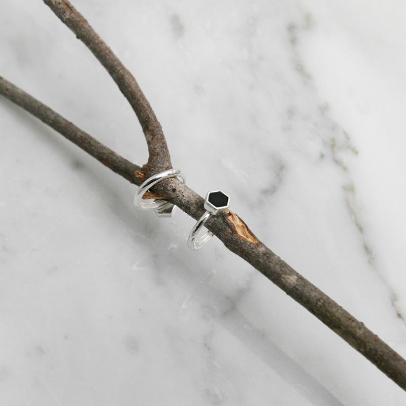 925 실버 오닉스 원터치 실버링 귀걸이 ER228J - 세컨아이디어, 21,000원, 실버, 링귀걸이