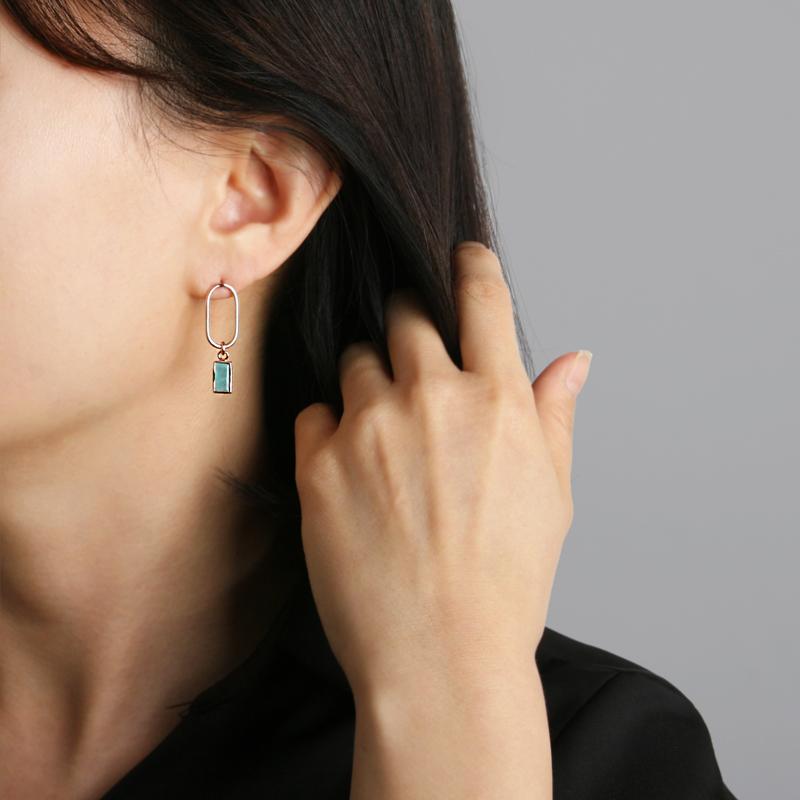925 실버 라운드 링 아마조나이트 실버 귀걸이 ER236J - 세컨아이디어, 56,000원, 진주/원석, 볼귀걸이